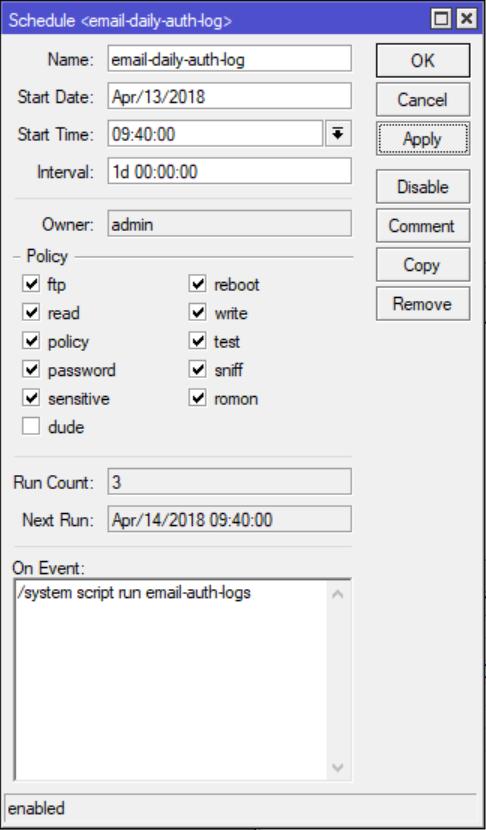 MikroTik Script: Authentication Logging w/ Email Reports